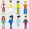 Fashion pixel people icons Royalty Free Stock Photo