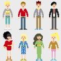 Fashion Pixel People Royalty Free Stock Photo