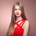 Fashion portrait of elegant woman with magnificent hair blonde girl perfect make up Royalty Free Stock Photo