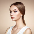 Fashion portrait of elegant woman with magnificent hair blonde girl perfect make up Stock Image