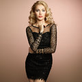 Fashion portrait of elegant woman with magnificent hair blonde girl perfect make up Stock Photo