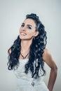 Fashion portrait of happy beautiful brunette smiling bride photo Royalty Free Stock Photos
