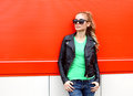 Fashion portrait pretty woman in rock black style Royalty Free Stock Photo