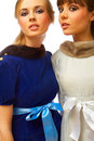 Fashion portrait of two models Royalty Free Stock Photo