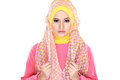 Fashion portrait of young beautiful muslim woman with pink costu costume wearing hijab isolated on white background Stock Images