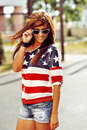 Fashion portrait of young stunning woman - outdoors Royalty Free Stock Photo