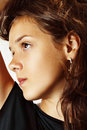 Fashion portrait of young teenage girl face Stock Photography