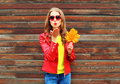 Fashion pretty young woman sends air sweet kiss with yellow maple leafs in autumn day over wooden background wearing red leather Royalty Free Stock Photo
