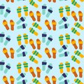 Colorful illustration with beach elements. Seamless pattern - summer slippers