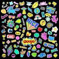 Fashion quirky cartoon doodle patch badges with cute elements. Isolated vector. Set of stickers,pins,patches in comic Royalty Free Stock Photo