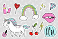 Fashion quirky cartoon doodle patch badges with cute elements Royalty Free Stock Photo