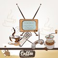 Fashion retro background with coffee cute design of vector poster in vintage style Royalty Free Stock Images