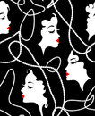 Fashion retro girl seamless pattern. Model Women, deads, red lips on faces background