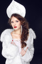 Fashion russian girl model in slavic exclusive design clothes on manners old close up portrait Stock Photos