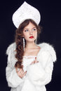 Fashion russian girl model in slavic exclusive design clothes on manners old close up portrait Royalty Free Stock Photography