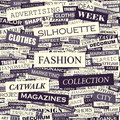 Fashion seamless pattern concept related words in tag cloud conceptual info text graphic word collage Stock Photo