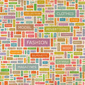 Fashion seamless pattern concept related words in tag cloud conceptual info text graphic word collage Stock Photography