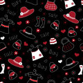 Fashion seamless pattern doodle with elements Royalty Free Stock Photo