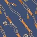 Fashion Seamless Pattern with Golden Chains and Straps. Chain, Braid and jewelry elements Background for Fabric Design