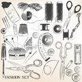 Fashion set of vector high detailed sewing accessories Royalty Free Stock Photo