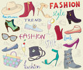 Fashion shoes background with hat gloves bags and glasses Royalty Free Stock Photo