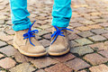 Fashion shoes on kid's feet Royalty Free Stock Photo