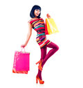 Fashion shopping girl model full length portrait Stock Photo