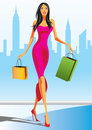 Fashion shopping girls with shopping bag Stock Photos