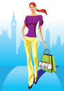 Fashion shopping girls with shopping bag in London Royalty Free Stock Photo