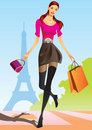 Fashion shopping girls with shopping bag in Paris Stock Image