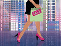 Fashion shopping woman in city vector illustration Royalty Free Stock Image
