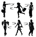 Fashion shopping woman silhouettes Stock Photos