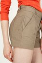 Fashion short pants side view young woman wearing sexy closeup shot Stock Images
