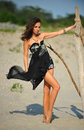 Fashion shot of brunette young girl in black luxury dress posing on the beach Stock Image