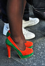 Fashion show on the street interesting orange high heels Stock Photo