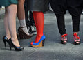 Fashion show on the street legs with interesting shoes high heels Stock Photo