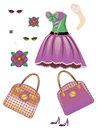Fashion spring dress beautiful of purple and green color with accessories Stock Image