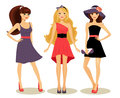 Fashion spring girls cute in new dresses vector illustration on white background Stock Photos