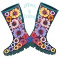 Fashion spring illustration with green rubber boots decorated by flowers for design Royalty Free Stock Photo
