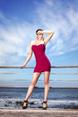 Fashion statement fashionable elegant woman out enjoying the sun Stock Images