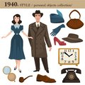 1940 fashion style man and woman personal objects Royalty Free Stock Photo
