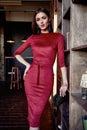 Fashion style woman wear red skinny dress accessory beautiful Royalty Free Stock Photo