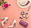 Fashion Stylish Accessories Set.Essentials Minimal Royalty Free Stock Photo
