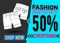 Fashion summer web banner. Sale