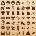 Fashion symbols girl icons clothing Royalty Free Stock Image
