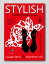 Fashion trendy silhouette black high heel shoes with rose on background. Fashion magazine cover design