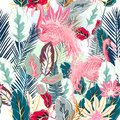 Fashion tropical vector artistic pattern with pink flamingo and
