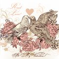 Fashion valentine card with birds and roses in vintage style vector illustration pigeons flowers Royalty Free Stock Images