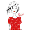 Fashion vector girl. Beautiful woman. Cute and young model with Royalty Free Stock Photo