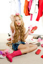 Fashion victim kid girl wardrobe messy backstage Royalty Free Stock Photos
